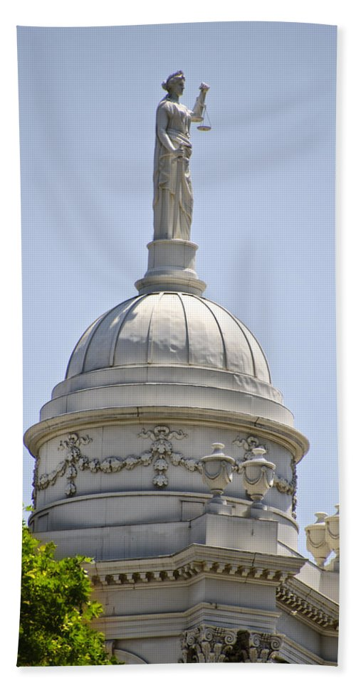 Statue Beach Towel featuring the photograph Statue Of Justice On Top Of New York City Hall by Bill Cannon