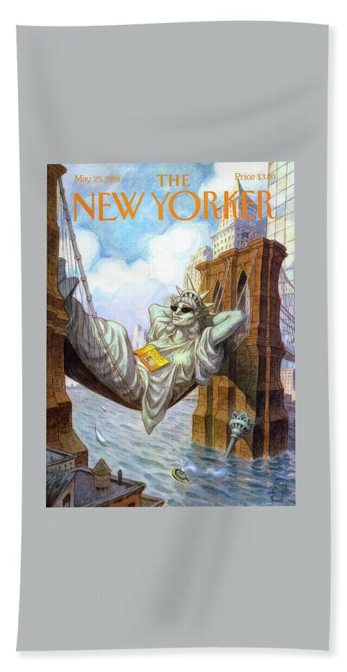 Liberty Beach Sheet featuring the painting Statue Of Liberty Lounges Between The Brooklyn by Peter de Seve