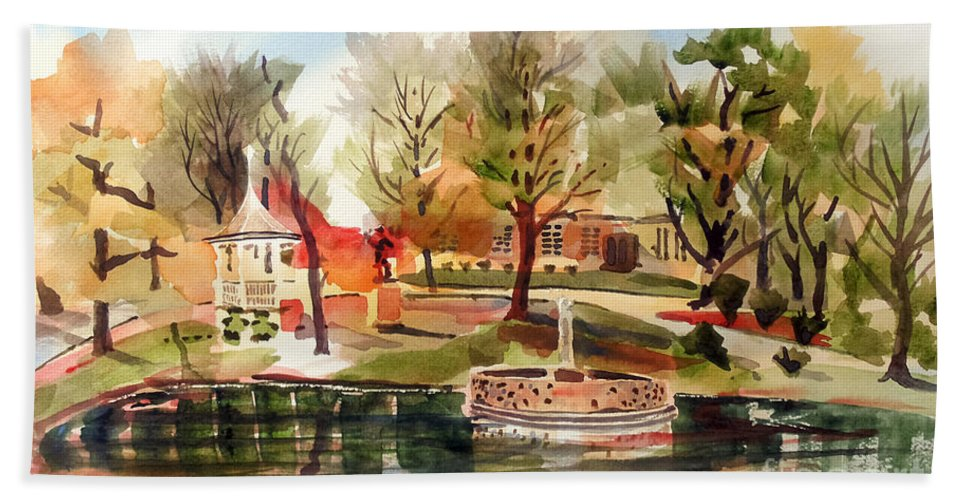Ste. Marie Du Lac With Gazebo And Pond I Beach Towel featuring the painting Ste. Marie Du Lac With Gazebo And Pond I by Kip DeVore