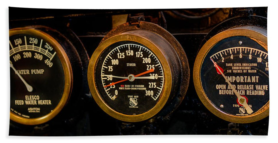 Steam Boiler Gauges Beach Towel featuring the photograph Steam Engine Gauge by Paul Freidlund