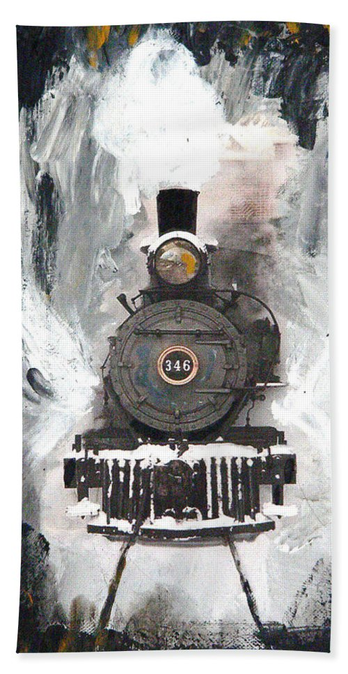 Steam Locomotive Beach Towel featuring the painting Steam Locomotive by Michael Tokarski
