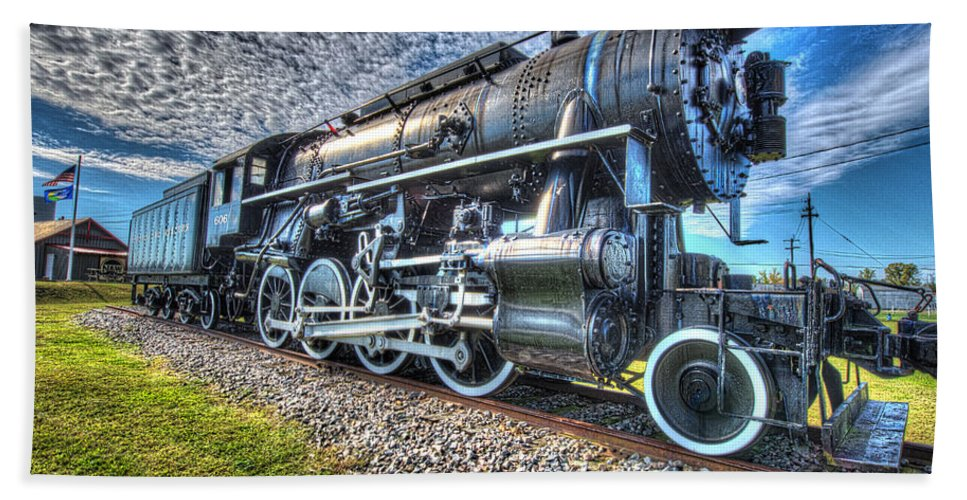 Historic Beach Towel featuring the photograph Steam Locomotive No 606 by Greg Hager
