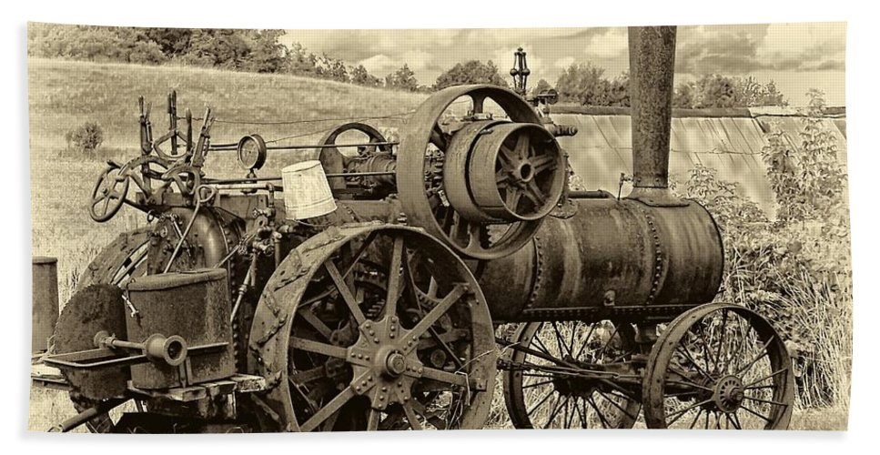 Farm Beach Towel featuring the photograph Steam Powered Tractor Sepia by Steve Harrington