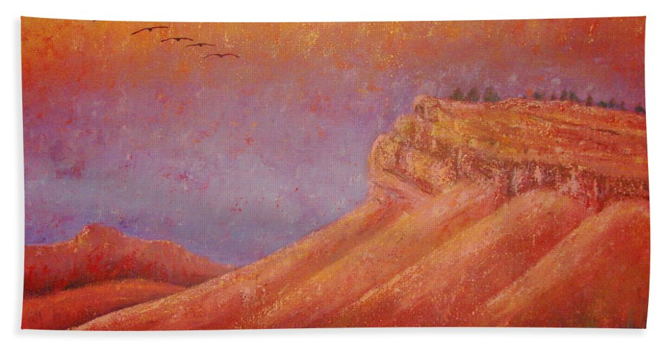Steamboat Mountain Beach Towel featuring the painting Steamboat Mountain at Sunrise by Margaret Bobb