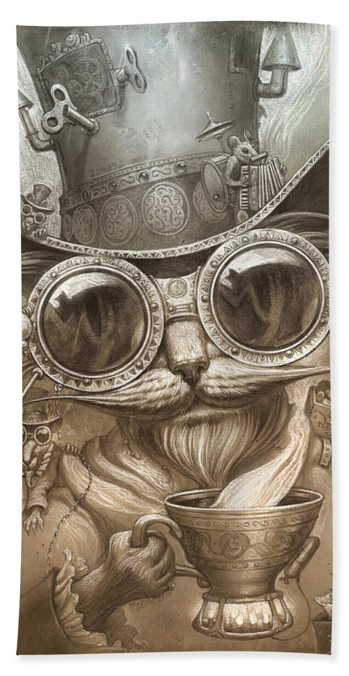 Steampunk Beach Towel featuring the painting Steampunk Cat by Jeff Haynie