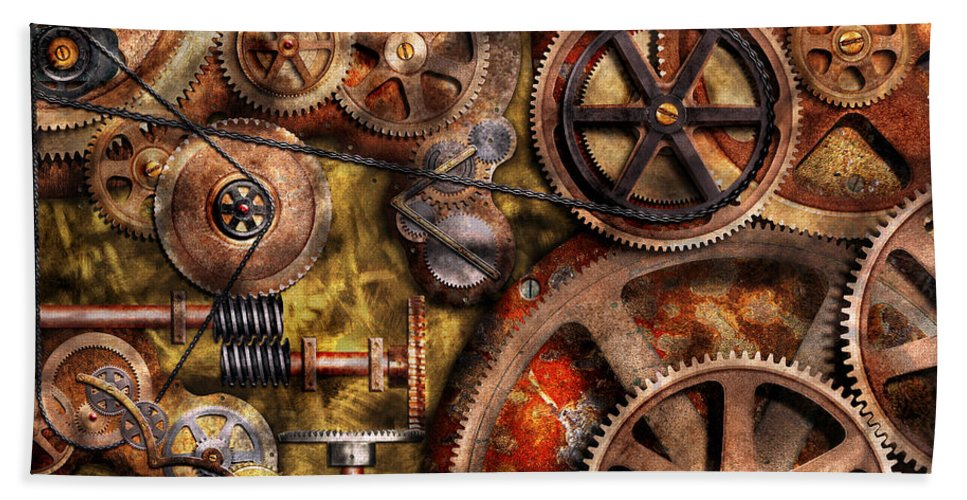 Steampunk Beach Towel featuring the photograph Steampunk - Gears - Inner Workings by Mike Savad