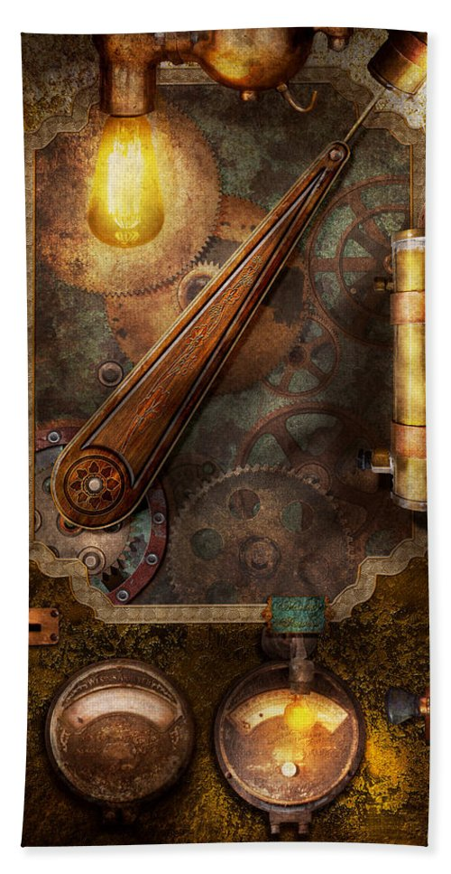 hdr beach towel featuring the digital art steampunk - victorian fuse box by  mike savad
