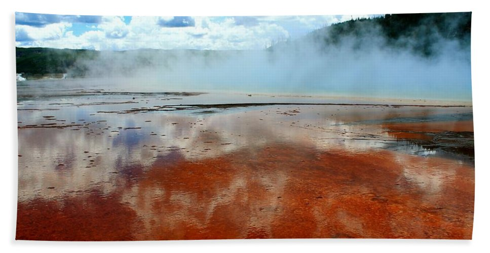Yellowstone National Park Beach Towel featuring the photograph Steamy Springs by Catie Canetti