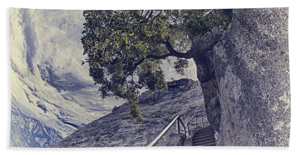 Moro Rock Beach Towel featuring the photograph Steps To Beauty On Moro Rock by Angela Stanton