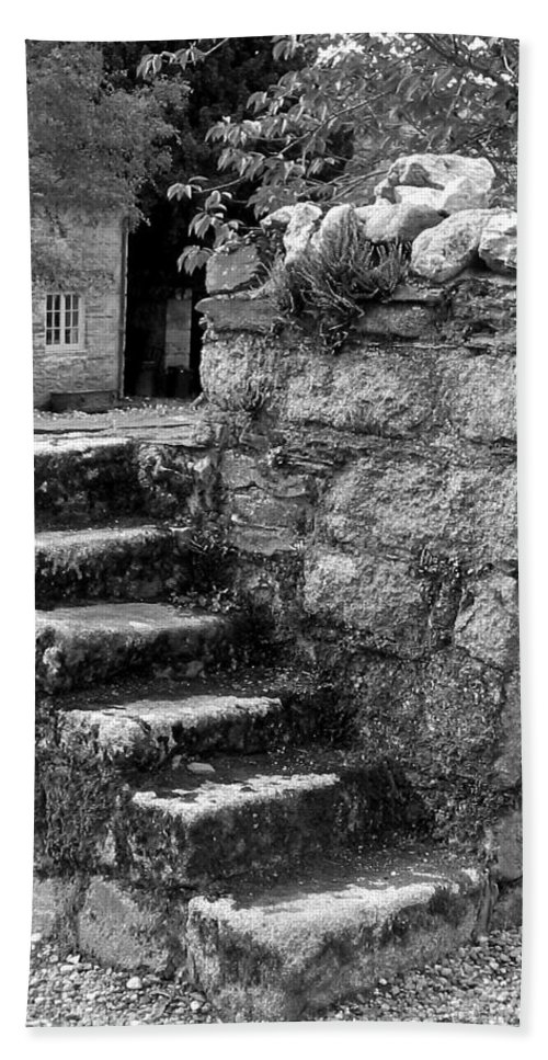 Black And White Beach Towel featuring the photograph Steps To Nowhere 1 by Denise Mazzocco