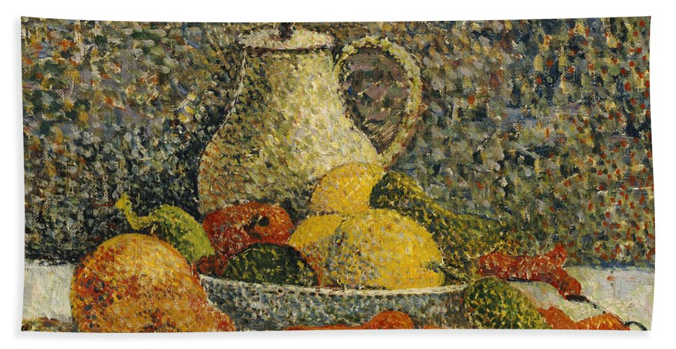 Post-impressionist; Post-impressionism; Jug; Bowl; Fruit Beach Towel featuring the painting Still Life by Paul Gaugin