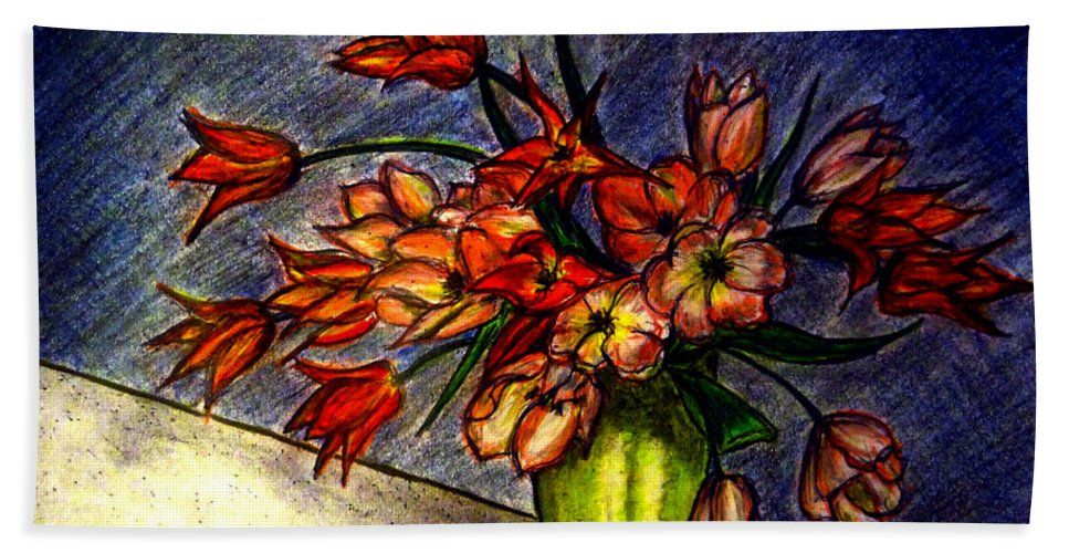 Still Life Beach Towel featuring the drawing Still Life Vase With 21 Orange Tulips by Jose A Gonzalez Jr
