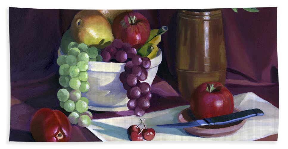 Fine Art Beach Towel featuring the painting Still Life with Apples by Nancy Griswold