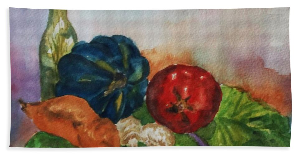 Still Life Beach Towel featuring the painting Still Life With Bottle by Ellen Levinson