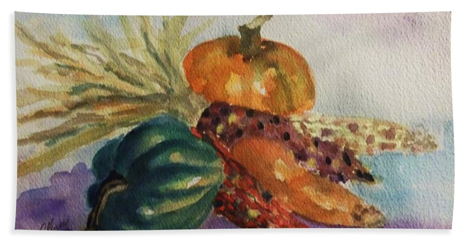 Still Life Beach Towel featuring the painting Still Life With Indian Corn by Ellen Levinson