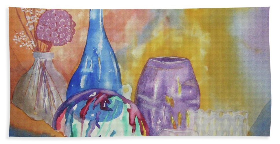 Wine Bottle Beach Towel featuring the painting Still Life With Witching Ball by Ellen Levinson