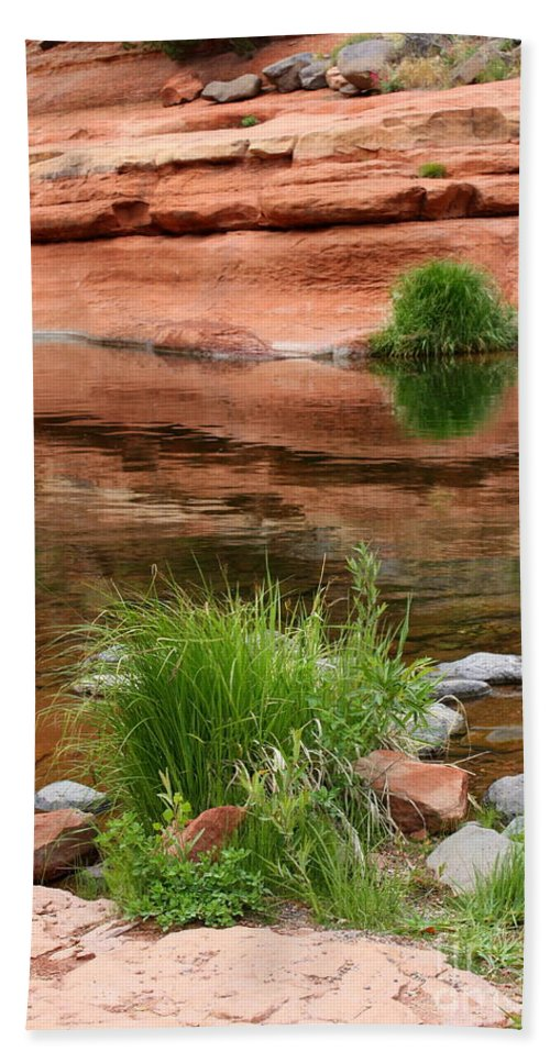 Sedona Beach Towel featuring the photograph Still Waters At Slide Rock by Carol Groenen