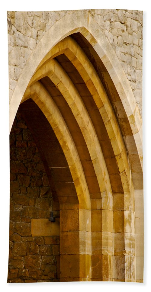 Britain Beach Towel featuring the photograph Stone Archway At Tower Hill by Christi Kraft
