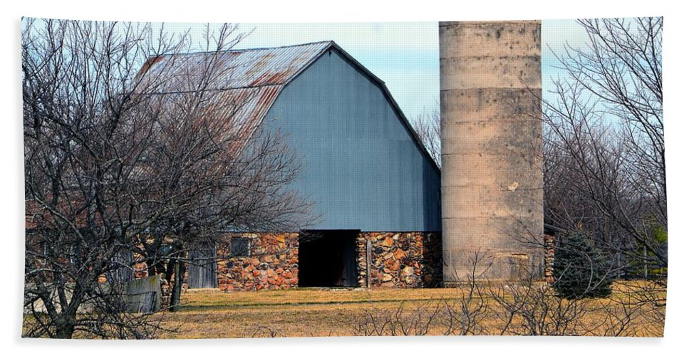 Barn Beach Towel featuring the photograph Stone Barn by Deena Stoddard