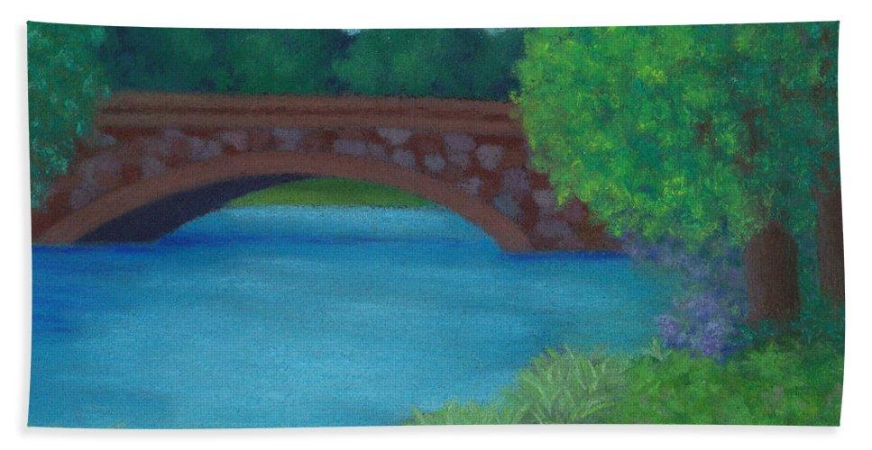 Landscape Beach Towel featuring the pastel Stone Bridge by Anne Katzeff