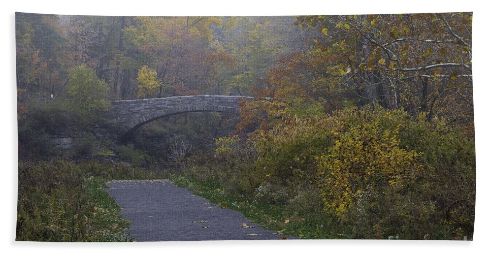Michele Beach Towel featuring the photograph Stone Bridge In Autumn 3 by Michele Steffey