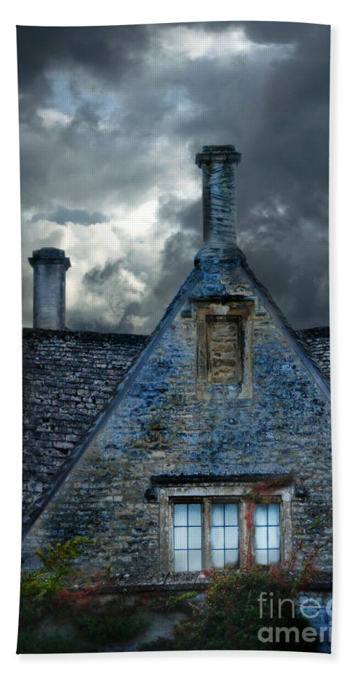 House Beach Towel featuring the photograph Stone Cottage In A Storm by Jill Battaglia
