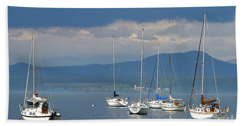 Lake Beach Towel featuring the photograph Storm A Brewing by Deborah Benoit