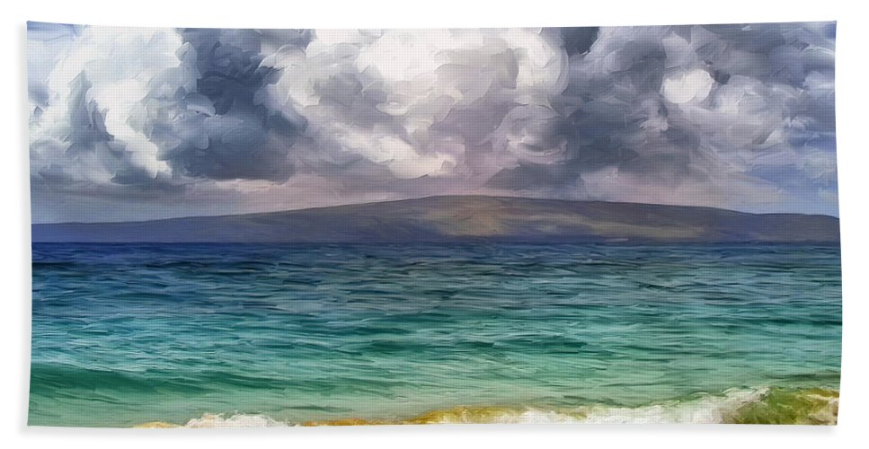 Storm Beach Towel featuring the painting Storm Across The Channel by Dominic Piperata