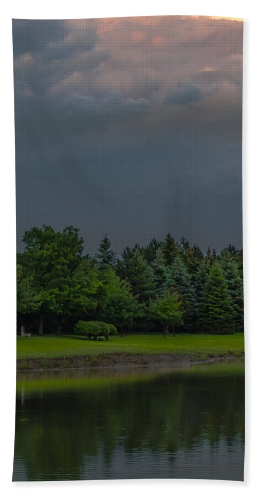 Clouds Beach Towel featuring the photograph Storm Clouds And Trees by Optical Playground By MP Ray