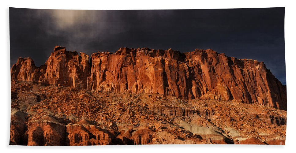 North America Beach Towel featuring the photograph Storm Clouds Capitol Reef National Park Utah by Dave Welling