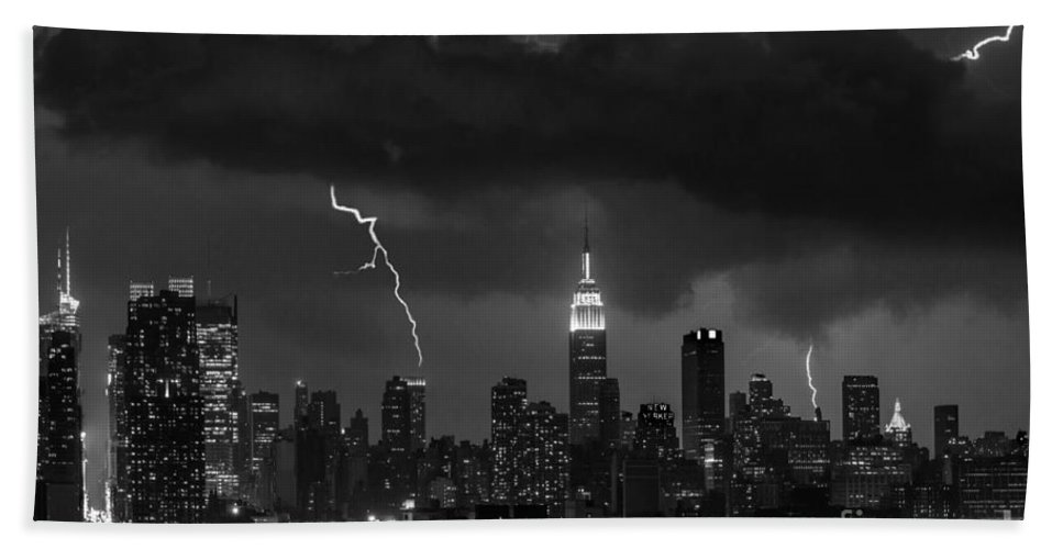 New York City Beach Towel featuring the photograph Storm Over Nyc by Jerry Fornarotto