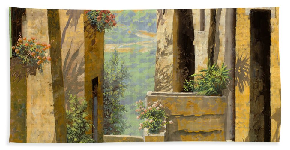 Landscape Beach Towel featuring the painting stradina a St Paul de Vence by Guido Borelli