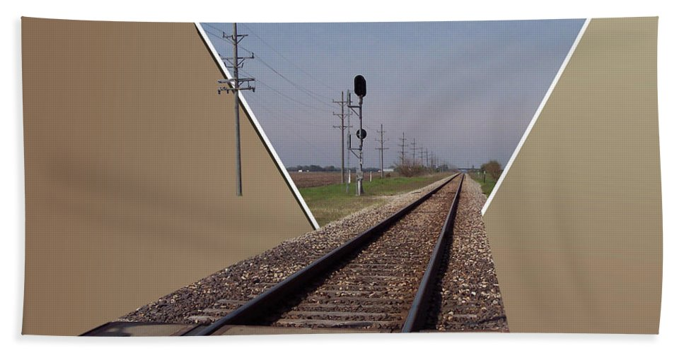 Train Beach Towel featuring the photograph Straight As A Rail by Thomas Woolworth