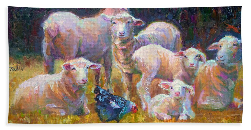 Lamb Beach Towel featuring the painting Stranger At The Well - Spring Lambs Sheep And Hen by Talya Johnson