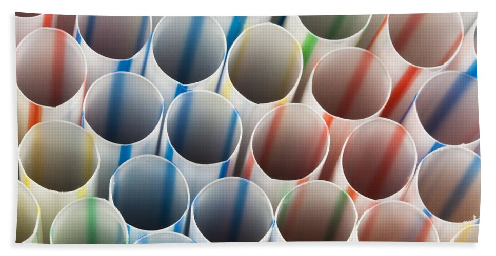 Drinking Beach Towel featuring the photograph Straws 1 by John Brueske
