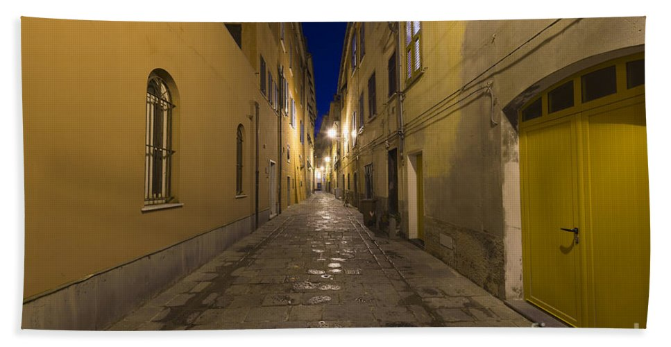 Alley Beach Towel featuring the photograph Street Alley By Night by Mats Silvan