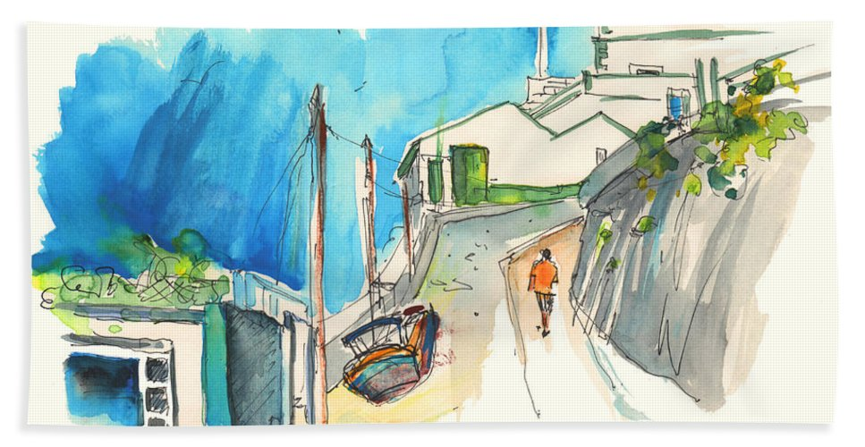 Portugal Art Beach Towel featuring the painting Street In Ericeira In Portugal by Miki De Goodaboom