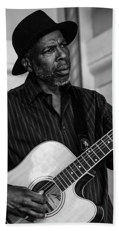 Black And White Beach Towel featuring the photograph Street Musician Black And White by Jon Cody