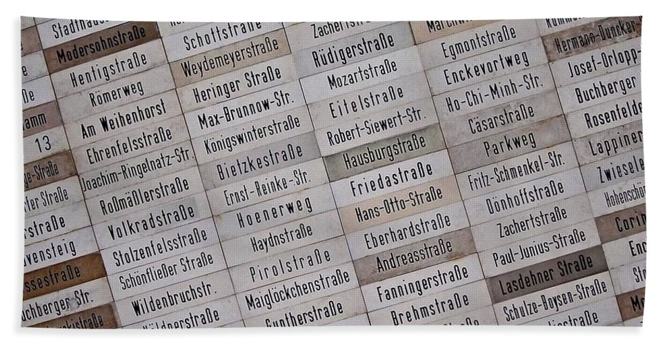 Europe Beach Towel featuring the photograph Street Signs Of East - Berlin ... by Juergen Weiss