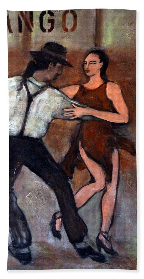 Tango Beach Towel featuring the painting Tango Street by Valerie Vescovi