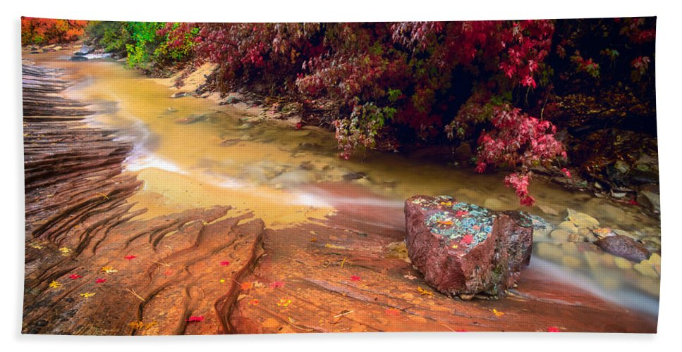 America Beach Towel featuring the photograph Striated Creek by Inge Johnsson