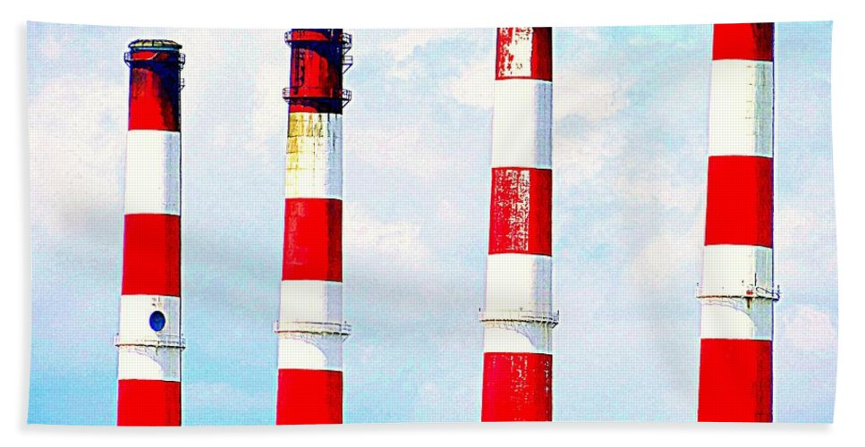 Red Beach Towel featuring the photograph Striped Stacks by Ed Weidman