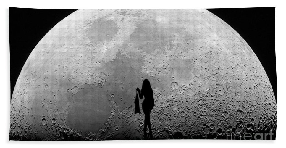 Stripper Beach Towel featuring the mixed media Stripper On The Moon by Marvin Blaine