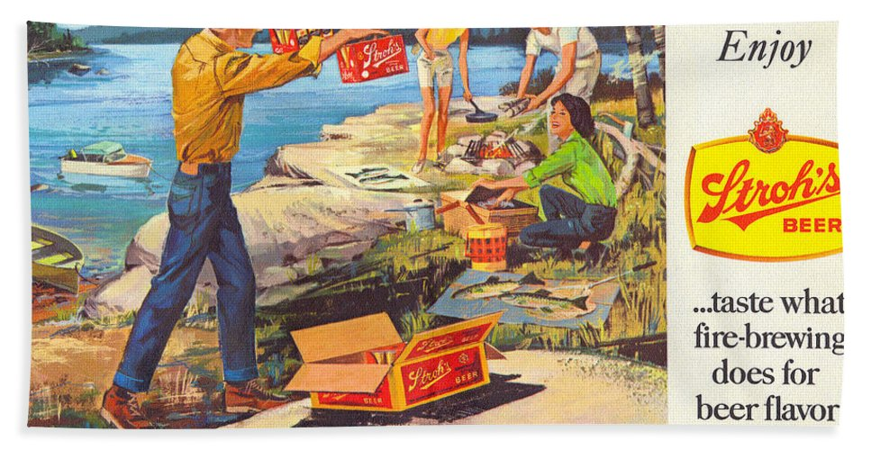 Stroh's Beach Towel featuring the drawing Stroh's Campfire Ad by John Farr
