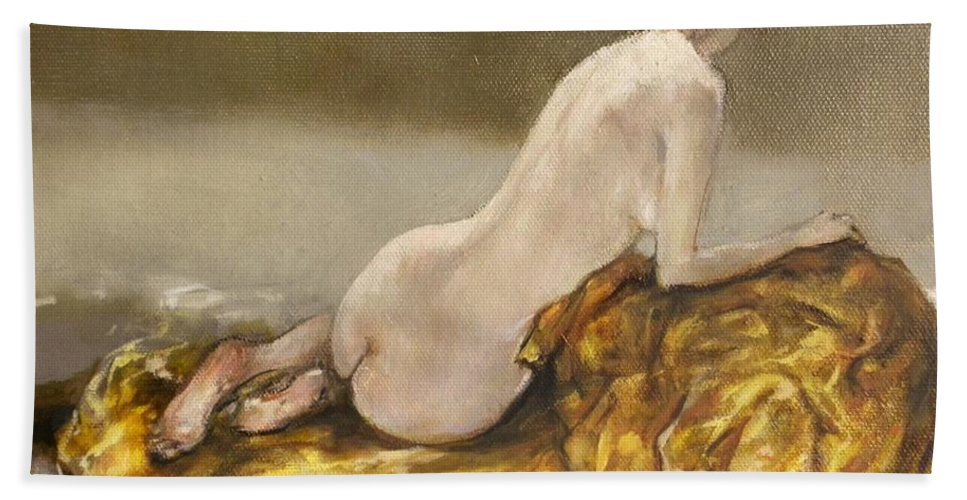 Nude Beach Towel featuring the painting Study Over A Silk Drapery by Grigor Malinov