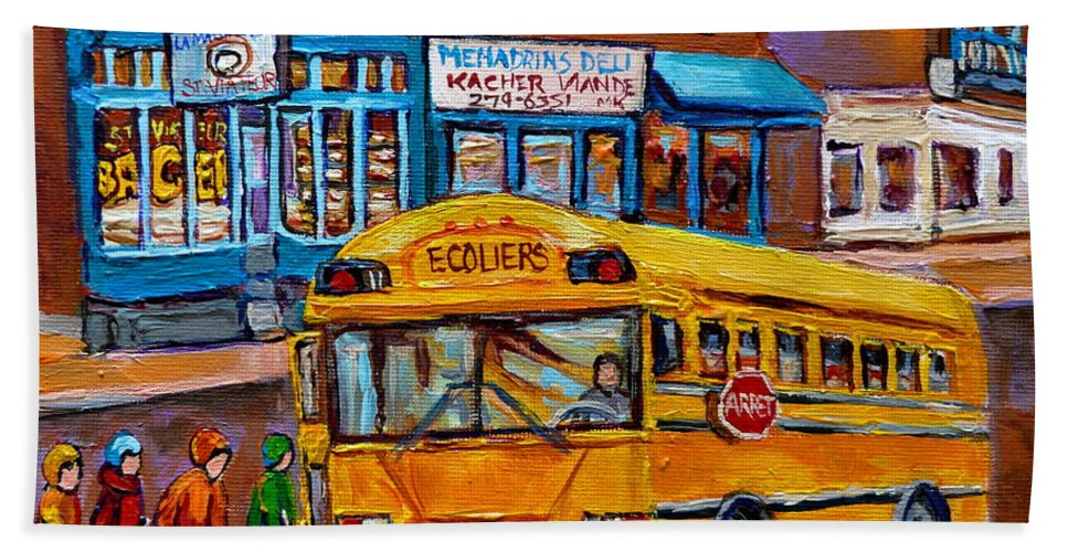 Montreal Beach Towel featuring the painting St.viateur Bagel And School Bus Montreal Urban City Scene by Carole Spandau