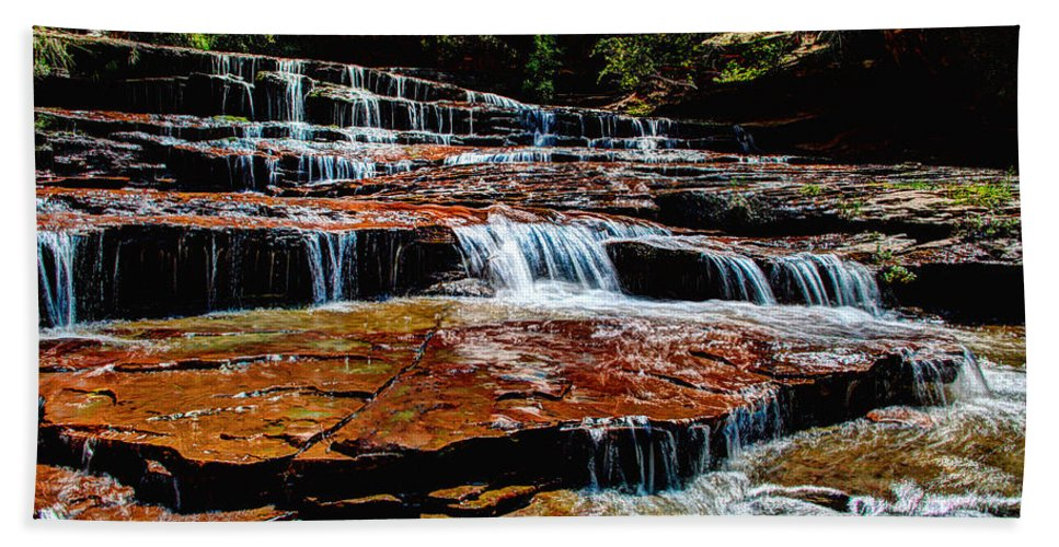 Waterfall Beach Towel featuring the photograph Subway Falls by Chad Dutson