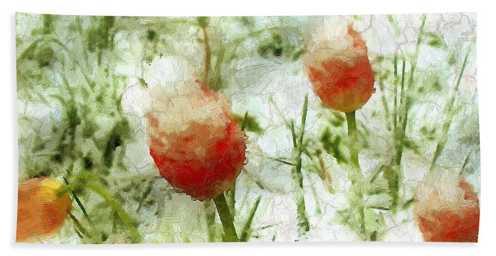 Tulips Beach Towel featuring the painting Suddenly Snow by RC DeWinter