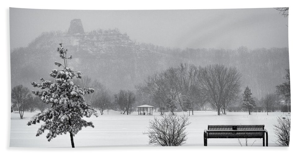 Sugarloaf Beach Towel featuring the photograph Sugarloaf Snowstorm by Al Mueller
