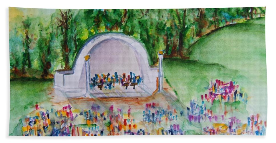 Devou Park Beach Towel featuring the painting Summer Concert In The Park by Elaine Duras